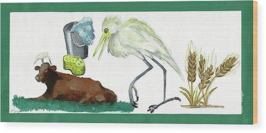 Cattle Egret Wood Print by Sigalit Aharoni