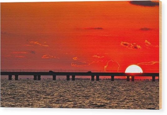 Causeway Sunset Wood Print