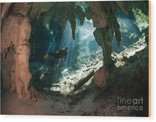 Cave Diving In Cenote Wood Print