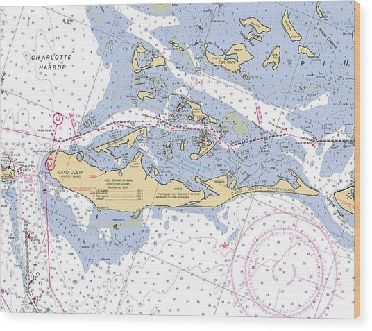 Cayo Costa Nautical Chart Wood Print