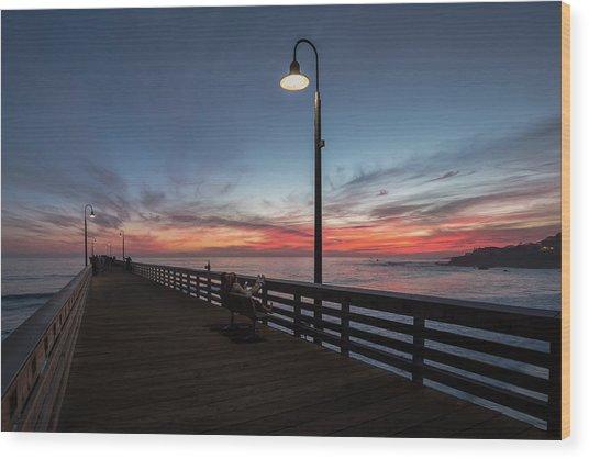 Cayucos Pier Sunset Wood Print
