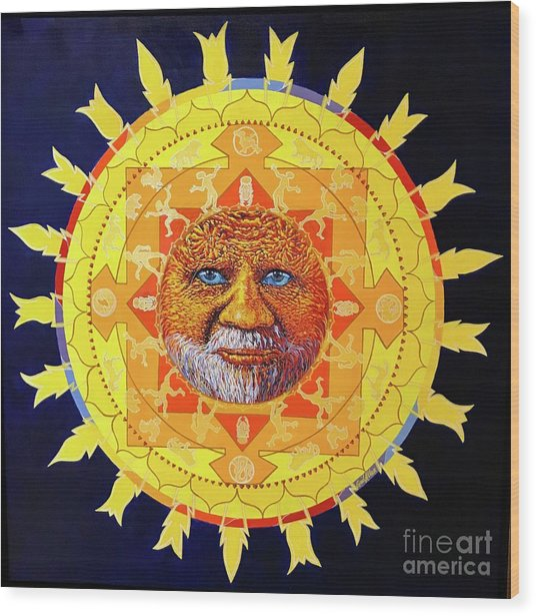 Cbs Sunday Morning Sun Mandala Wood Print