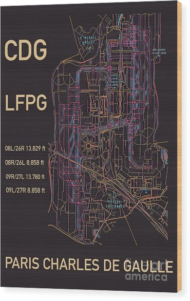 Cdg Paris Airport Wood Print