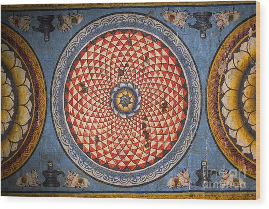 Ceiling Meenakshi Sundareswarar Temple Wood Print