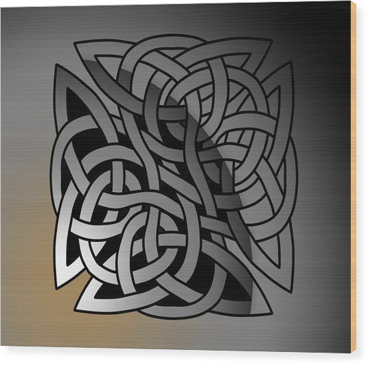 Wood Print featuring the drawing Celtic Shield Knot 7 by Joan Stratton