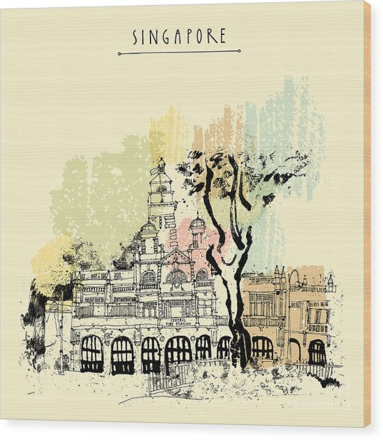 Central Fire Station In Singapore Wood Print