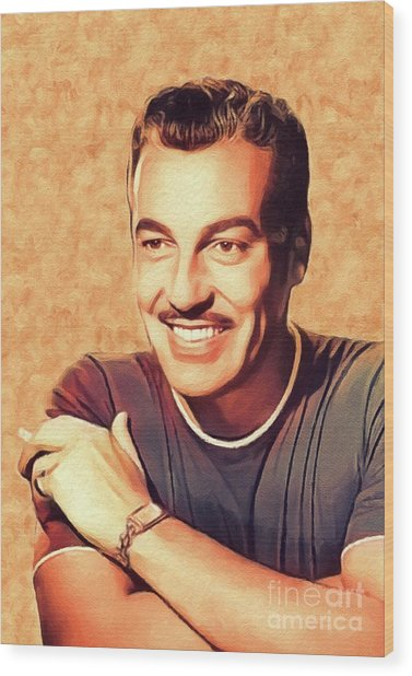 Cesar Romero, Vintage Actor Wood Print