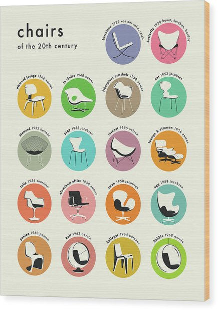 Chairs Of The 20th Century Wood Print