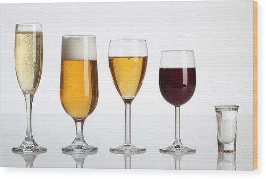 Champagne Beer Wine Spirits Wood Print
