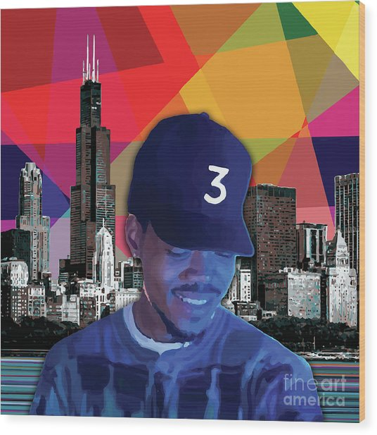 Wood Print featuring the painting Chance Chicago by Carla B