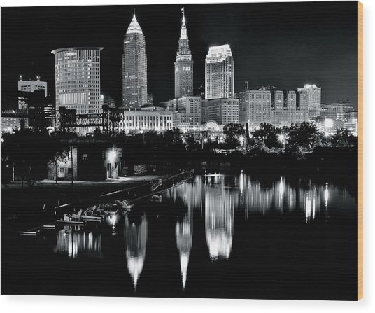 Charcoal Night View Of Cleveland Wood Print