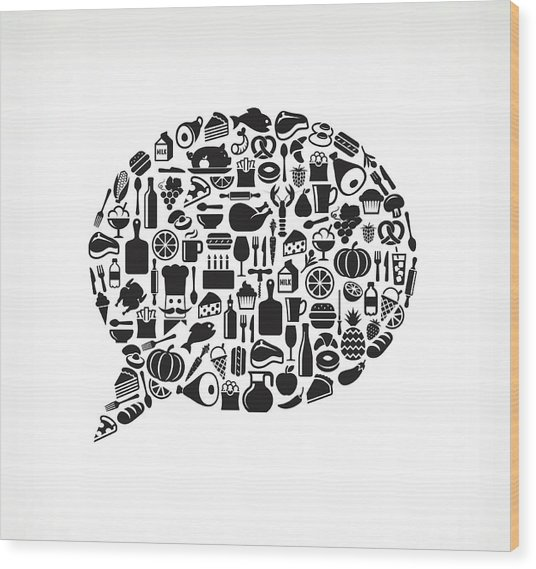 Chat Bubble Food & Drink Royalty Free Wood Print by Bubaone
