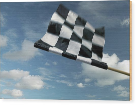 Checkered Flag Wood Print by James W. Porter