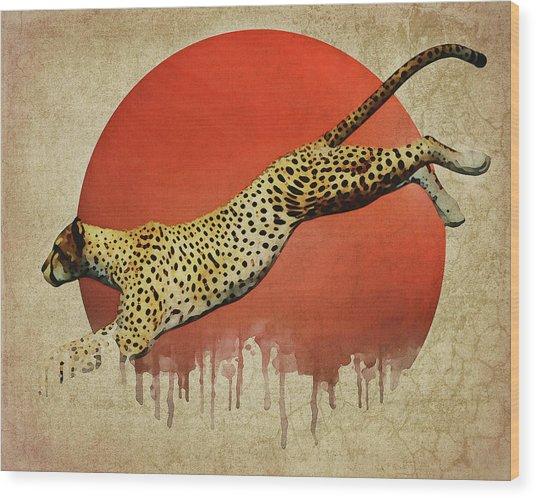 Cheetah On The Run Wood Print