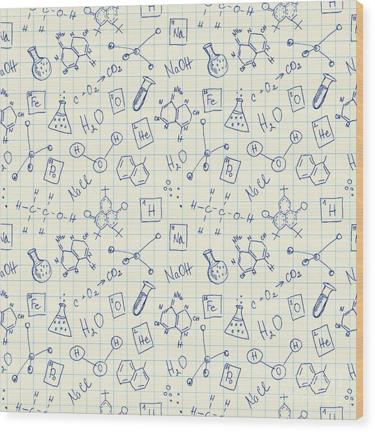 Chemistry Doodles Seamless Pattern Wood Print