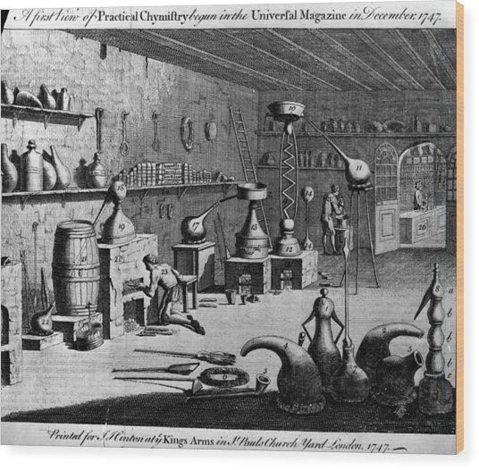 Chemistry Laboratory Wood Print by Hulton Archive