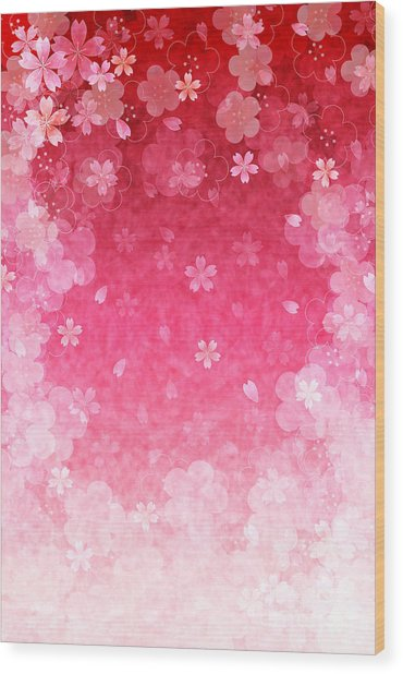 Cherry Plum Greeting Cards Wood Print