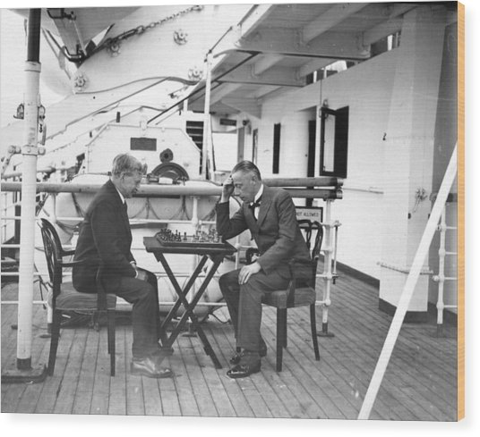 Chess On Board Wood Print by W. G. Phillips