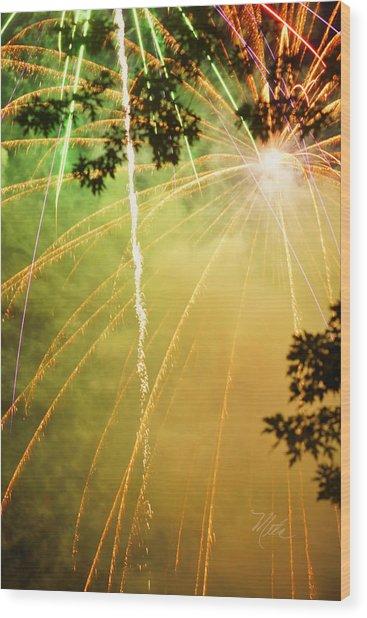Yellow Fireworks Wood Print