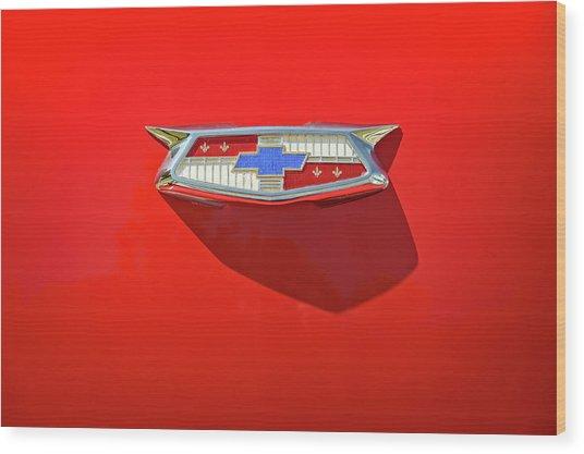 Chevrolet Emblem On A 55 Chevy Trunk Wood Print