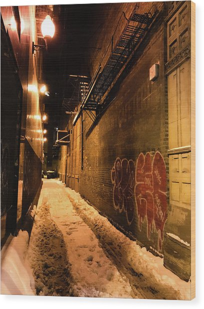 Chicago Alleyway At Night Wood Print