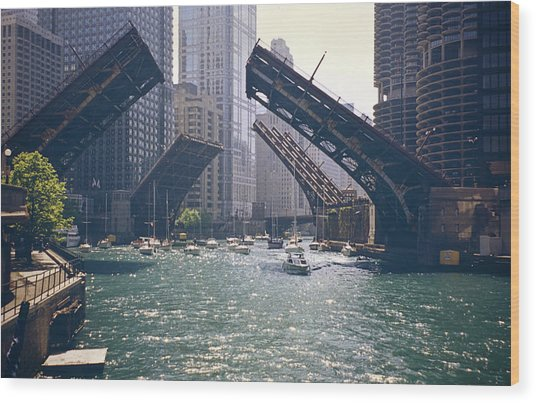 Chicago Bridges Wood Print by By Ken Ilio