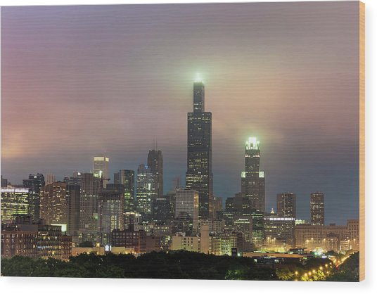 Chicago City Skyline Architecture With Cloudy Skies Wood Print