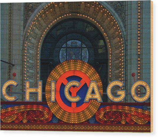 Chicago Emblem Wood Print by By Ken Ilio