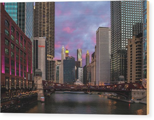 Chicago Evening Wood Print
