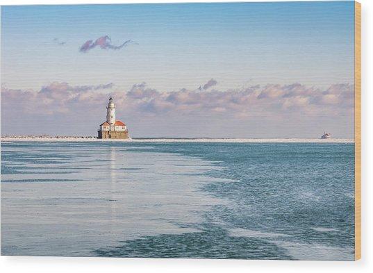 Chicago Harbor Light Landscape Wood Print