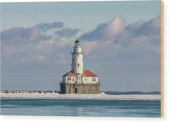 Chicago Harbour Light Wood Print