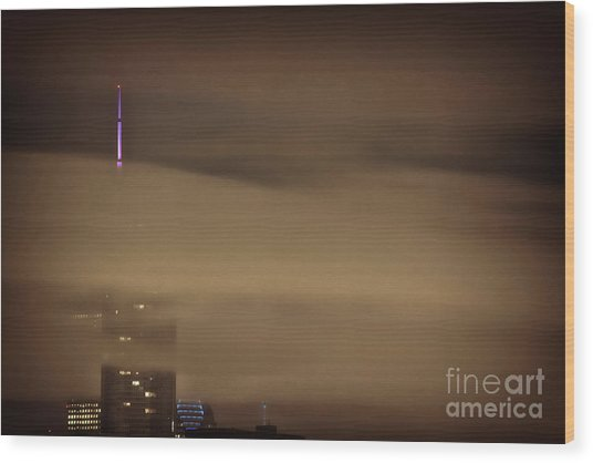 Chicago In Fog Wood Print
