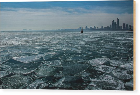 Chicago In Winter Wood Print