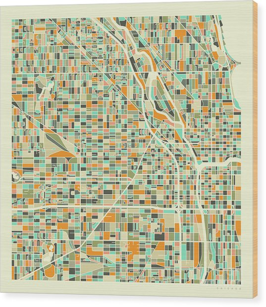 Chicago Map 1 Wood Print