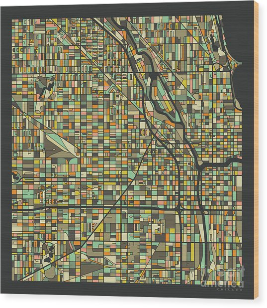 Chicago Map 2 Wood Print by Jazzberry Blue