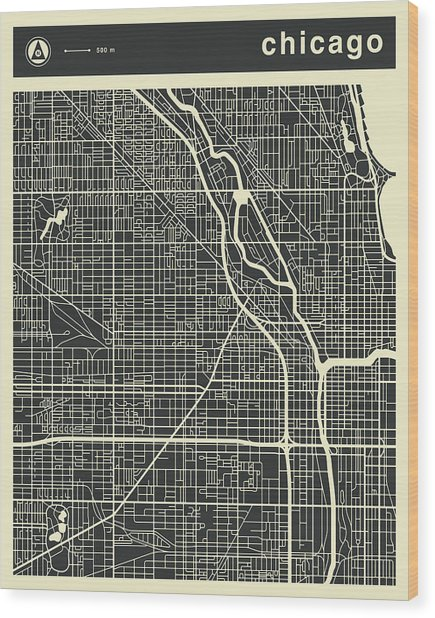 Chicago Map 3 Wood Print