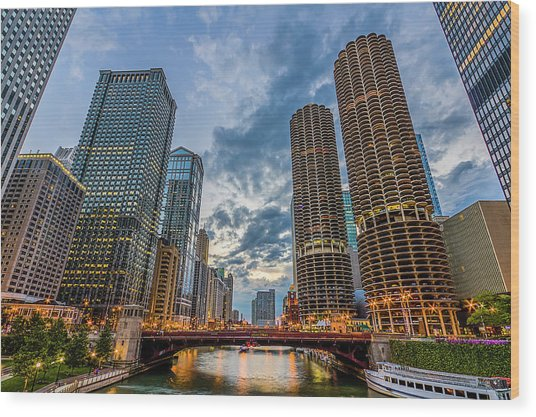 Chicago River Sunset Wood Print by Carl Larson Photography