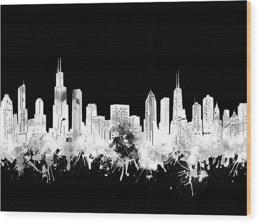 Chicago Skyline Black And White 2 Wood Print