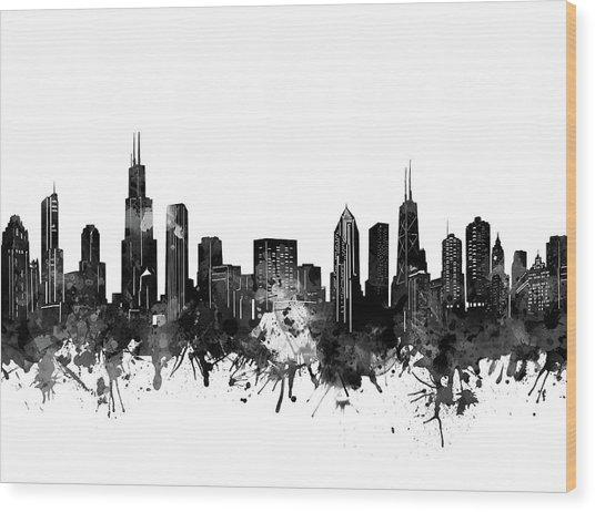 Chicago Skyline Black And White Wood Print
