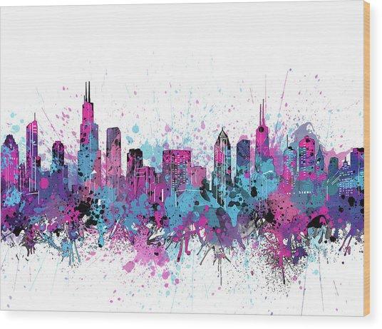 Chicago Skyline Color Splatter Wood Print