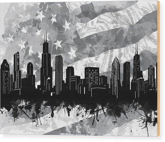 Chicago Skyline Flag Wood Print
