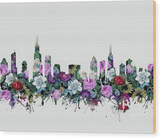 Chicago Skyline Floral Wood Print