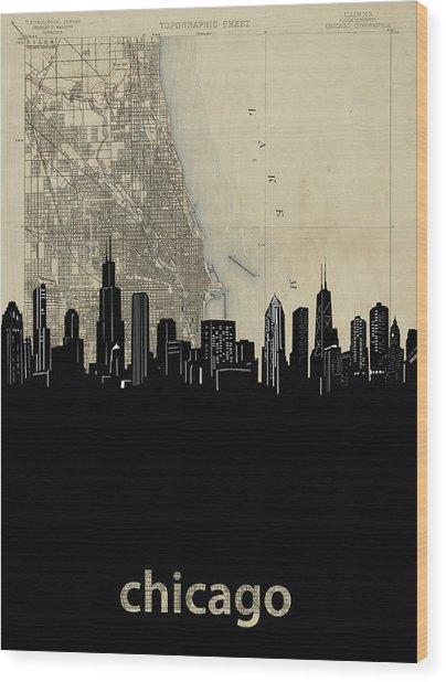 Chicago Skyline Map Wood Print
