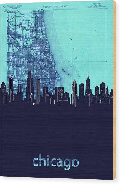 Chicago Skyline Map Blue 2 Wood Print