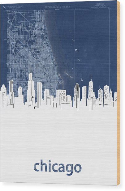 Chicago Skyline Map Blue Wood Print