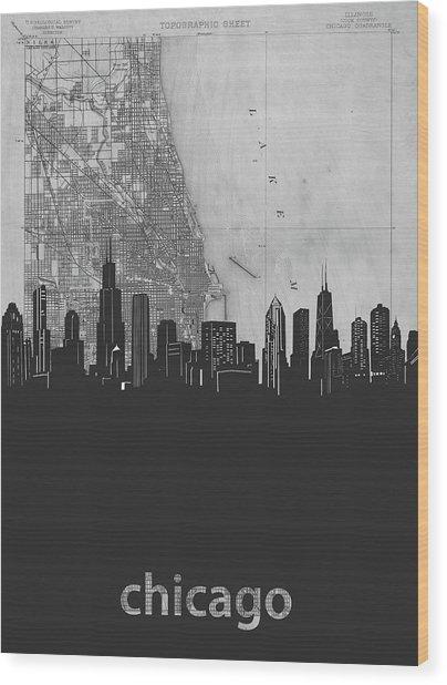 Chicago Skyline Map Grey Wood Print