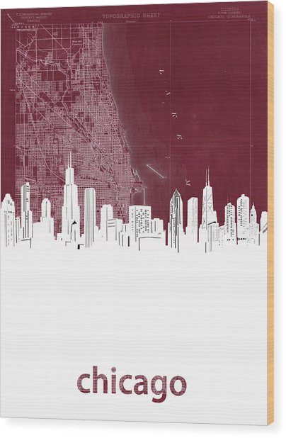 Chicago Skyline Map Red Wood Print