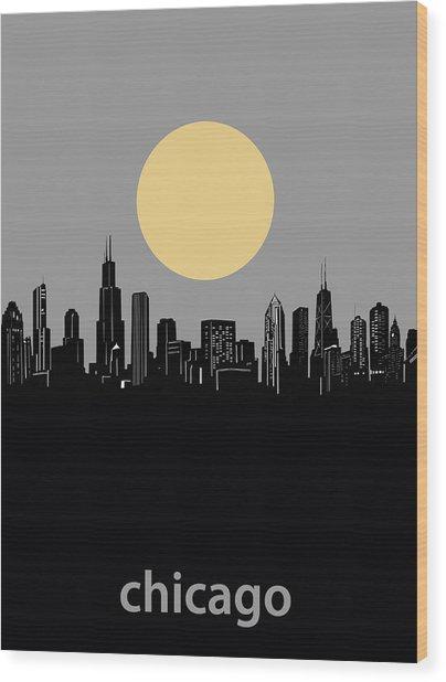 Chicago Skyline Minimalism 2 Wood Print