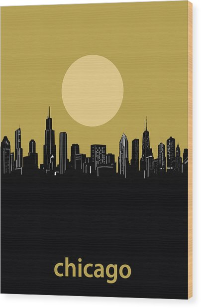 Chicago Skyline Minimalism 5 Wood Print