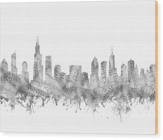 Chicago Skyline Music Notes Wood Print